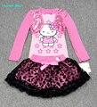 Humor Oso Niños Conjuntos Falda de la muchacha Traje de conjuntos de Ropa de bebé de manga Larga camisa + falda de las muchachas ropa fijada