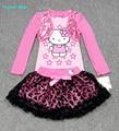 Humor Urso conjuntos de Roupas Crianças da Menina Define Saia Terno do bebê camisa de manga Longa + saia conjunto roupa das meninas