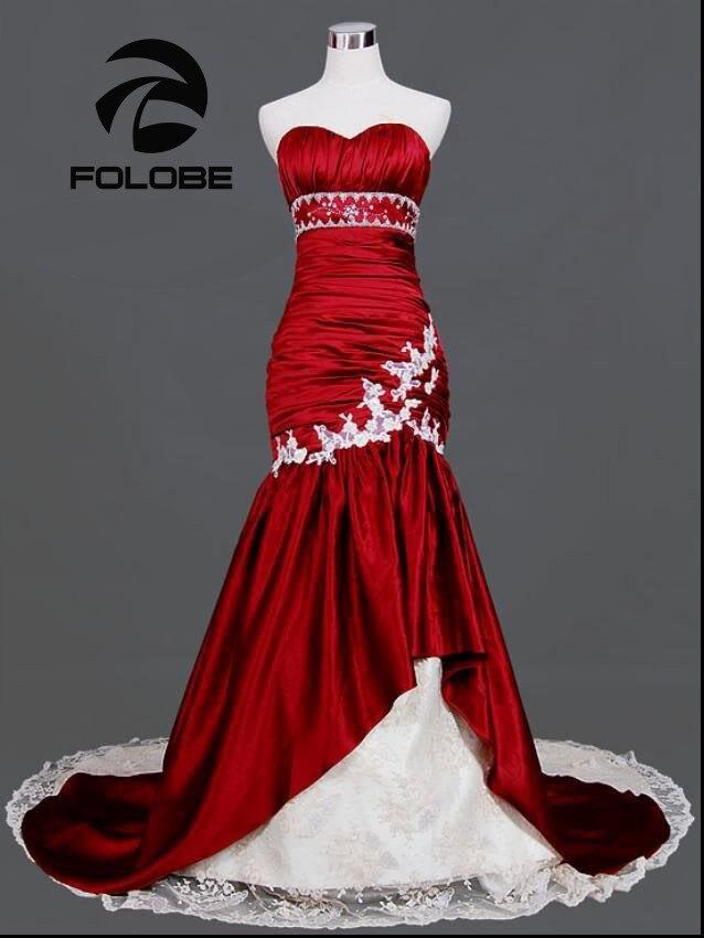 Robe De Novia sur mesure ivoire et rouge chérie Appliques dentelle plissée sirène taffetas robes De mariée dos ouvert robes De mariée