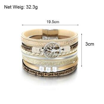 ALLYES Leather Bracelets Tree of Life Ladies Bohemian Multilayer Wide Wrap Bracelet 5