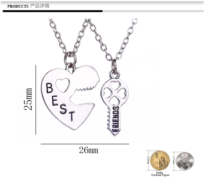 5b4e09cd80 Aliexpress.com : Buy Two Piece Charm Heart Shape Puzzle Best Friend Forever  BBF Key To Your heart Pendant Necklace Friendship Gift Fashion Jewelry from  ...