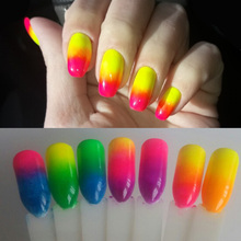 T-TIAO CLUB 8 Boxes Neon Pigment Nail Powder Dust  Gradient Glitter Iridescent Acrylic Colorful Art Decoration