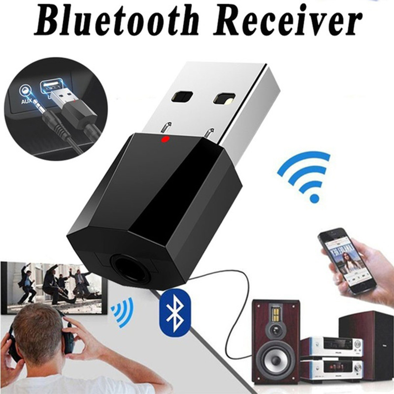 FlatFin Wireless Bluetooth Receiver 3.5mm Jack Bluetooth Audio Music Receiver Adapter Car Aux Cable Free for iPhone Samsung Android Cell Phones Speaker Headphone TV Car Home Stereo System