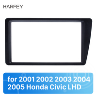 Harfey 2 Din Dash Mount DVD Frame Radio Fascia for 2001 2002 2003 2004 2005 2006 Honda Civic LHD Auto Stereo Panel Adaptor Plate
