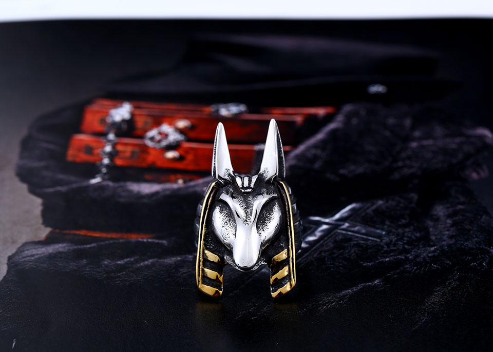 geekoplanet.com - 316L  Stainless Steel The Kane Chronicles Anubis Ring