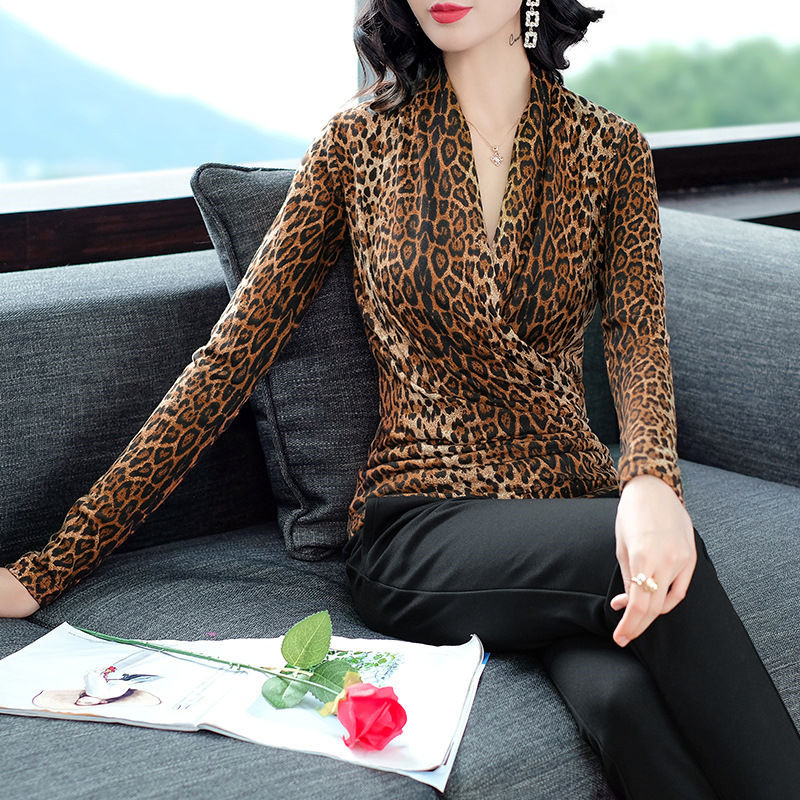 Neploe Women Sweaters and Pullover Leopard Printed Plus Size 5XL Female Tops Jumpers V-Neck Long Sleeve Elegant Sweater 37808