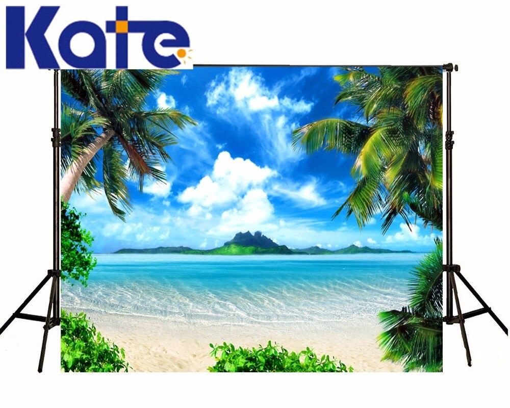 10X10FT 케이트 해변 휴가 사진 백 드롭 푸른 하늘 배경 사진 스튜디오 코코넛 나무 사진 배경 스튜디오