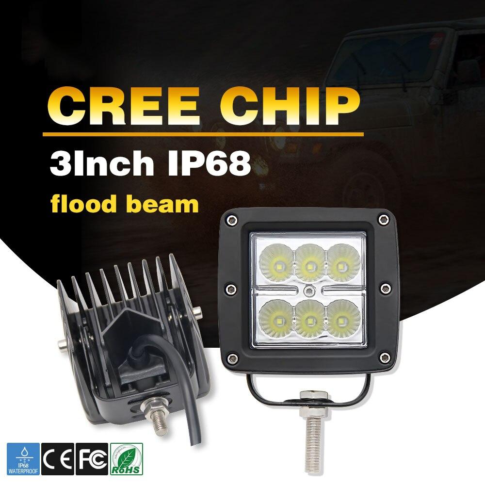 Со светом 2 шт. 18 Вт Spot LED Подсветка 12 В двойственно свет Лампы для мотоциклов IP68 лодка свет Off Road 4WD грузовик для бездорожья джип УАЗ лада