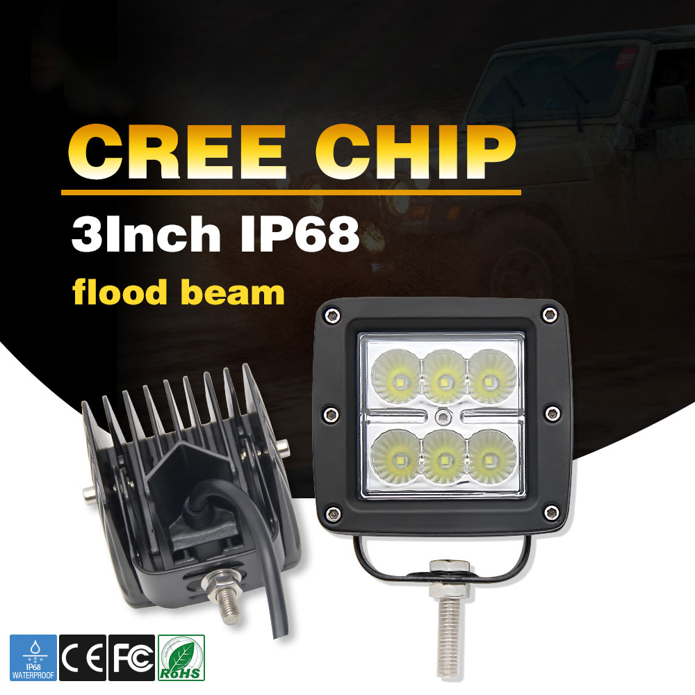 CO LIGHT 2pcs 18w Spot Led Work Lights 12V Dually Led Light Lamps IP68 Boat Light Off Road 4wd Truck for Offroad Jeep UAZ Lada free shipping new stye 2pc 7inch 70w round led off road lights 12v spot driving work wrangler headlight 4x4 truck led work light