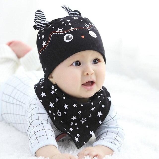 2006079e3f8 Baby Caps Lovely Child Baby Boys Girls Sleep Hat Cap + Saliva Towel  Triangle Head Scarf Set Newborn Photography Props