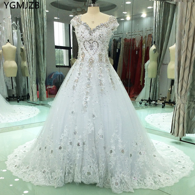 Real Photo Luxury Wedding Dresses Ball Gown 2018 Beaded Crystal Cap ...