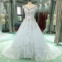 Real Photo Luxury Wedding Dresses Ball Gown 2018 Beaded Crystal Cap Sleeves Sheer Back Wedding Bridal Gown Vestido De Noiva