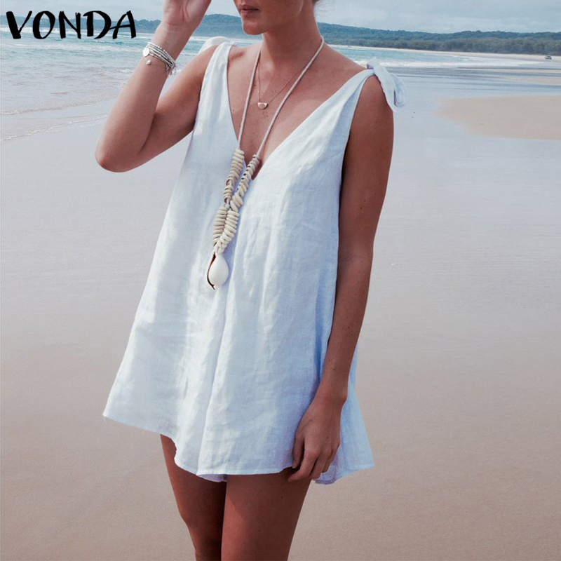 VONDA Rompers Womens   Jumpsuit   2018 Summer Playsuits Sexy V Neck Sleeveless Backless Casual Beach Overalls Plus Size Bodysuit 5XL