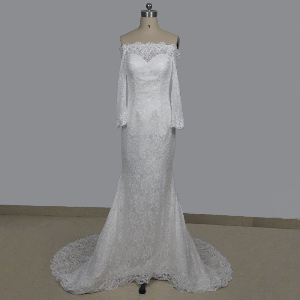 Elegant lace wedding dresses off the shoulder sweetheart neckline long sleeve wedding gown mermaid cut bridal dresses 2017