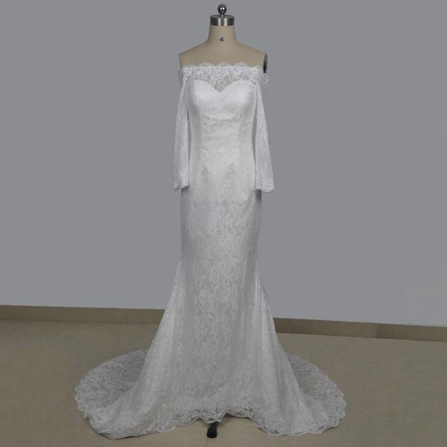 63807fa7c45c7 Elegant lace wedding dresses off the shoulder sweetheart neckline long  sleeve wedding gown mermaid cut bridal dresses 2017
