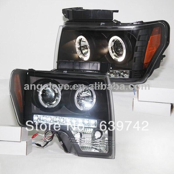 Для 2008-2012 год для Raptor F150 LED Ангельские глазки фара черный Цвет