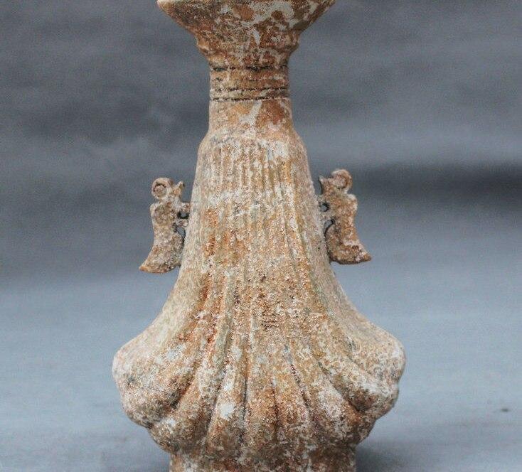 """8"""" Ancient Chinese Dynasty Palace Antique Glaze Beast Lion Handle Bottle Vase"""
