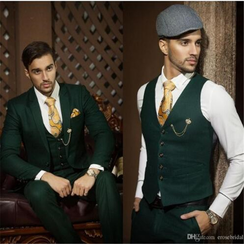 Custom Made Dark Green Suits For Men 3 piece (Jacket + Pants +Vest +Tie) Casual Wedding Groom Jacket Tuxedos Fit Men For Wedding