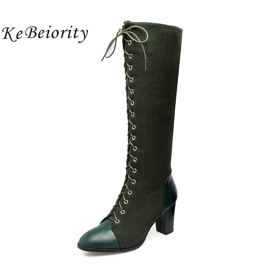 KEBEIORITY Fashion Knee High Boots Women High Heels Booties Lace Up Autumn Winter Western Black Green Boots Plus Size 33-48 enmayla winter autumn high heels lace up knee high boots women shoes sewing green brown black knigh long boots