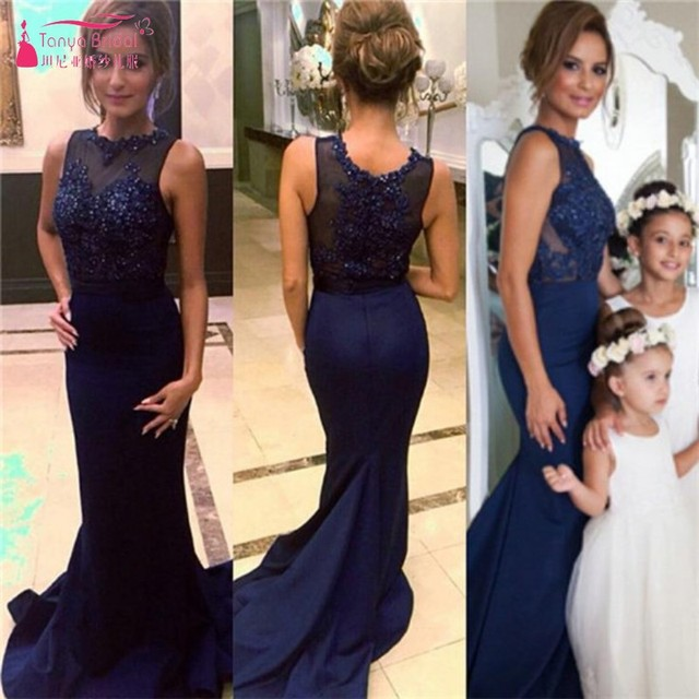 Navy Blue Beaded Mermaid Lace Appliques Chiffon Prom Dresses 2019 Long Formal Evening Gown DQG775