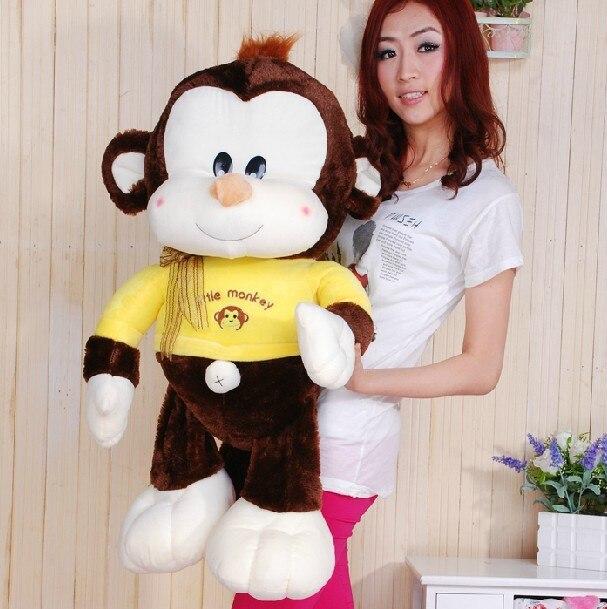 Gros jouet de singe en peluche jouet de singe en tissu jaune poupée cadeau environ 85 cm 0129