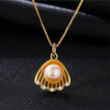 Fyla Mode Fine Jewelry 7-7.5mm Natural White Pink Purple Freshwater Cultured Pearl 18K Gold Color Pendant 925 Silver Necklace