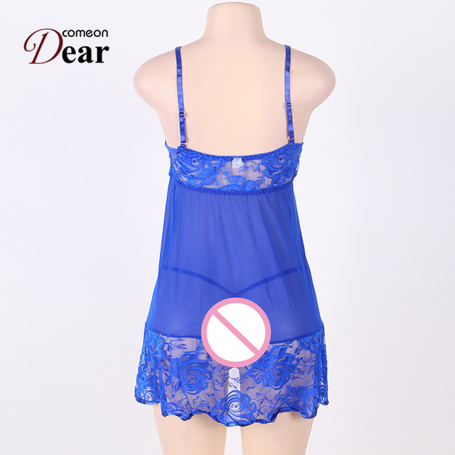 Comeondear Sexy Women Fancy Underwear with G-string Fitness Lace Babydoll Dress RB80158 Plus Size Sexy Lingerie Hot XL,3XL,5XL