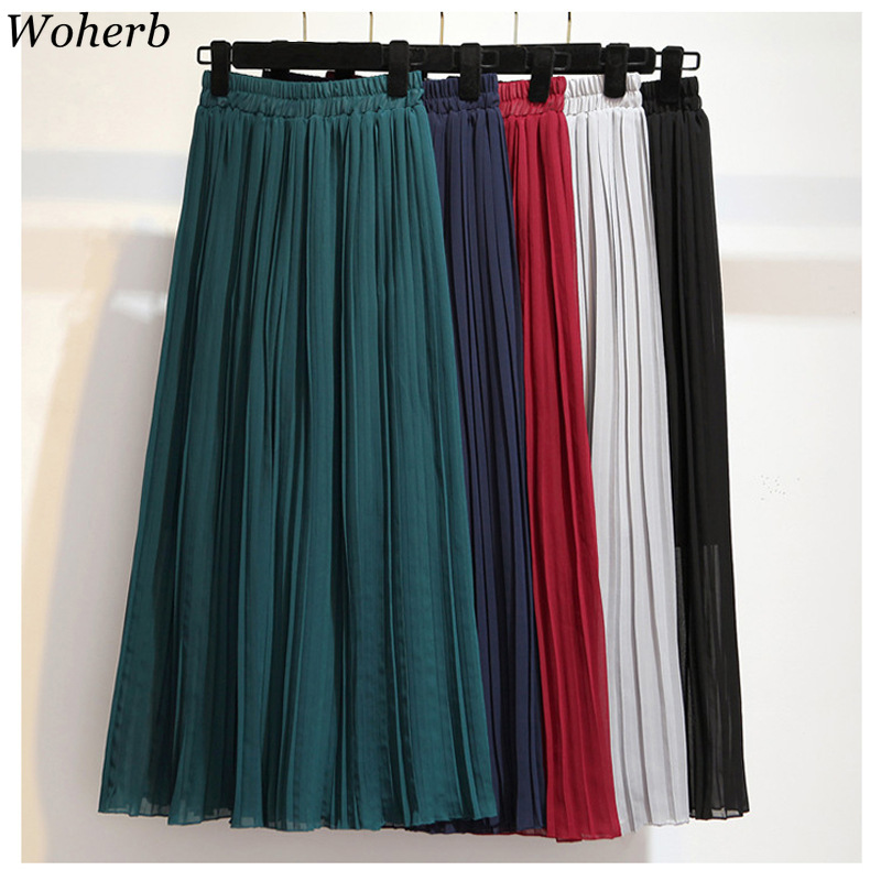 Woherb Female Chiffon   Pants   Women's Summer Wide Leg Calf-Length Trousers Elastic High Waist Loose Office Lady   Capris     Pants   22653