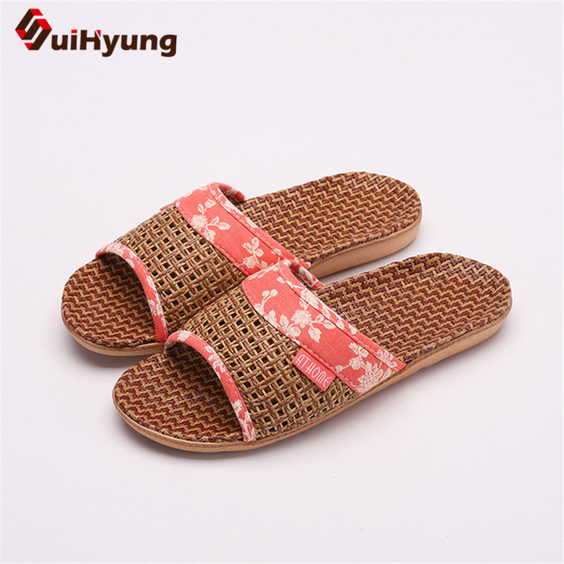 Suihyung Lovers Indoor Slippers 2019 New Summer Women Breathable Flax Slides Flip Flops Woman Man Casual Flat Sandals Plus Size 2