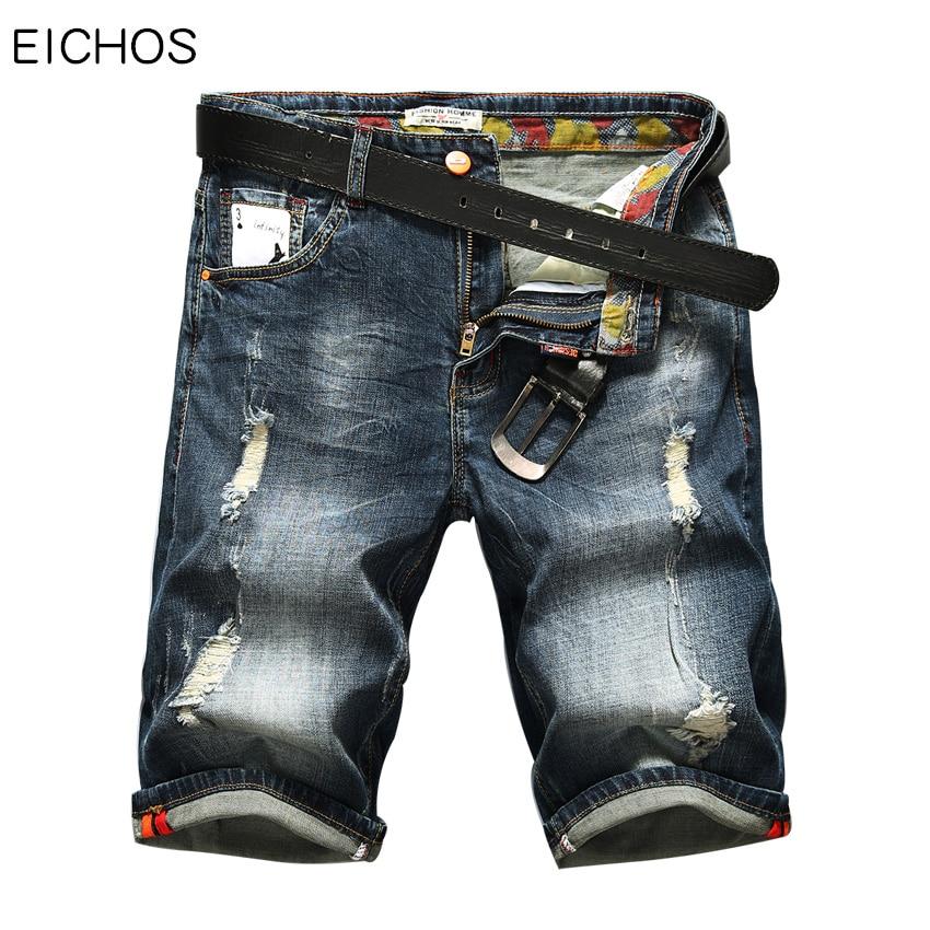 Fashion Moustache Effect Short Pants Men Loose Denim Shorts Men 2018 New Europe Straight Designer Jeans Men Short