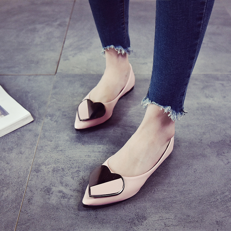 2018 Spring Autumn Season Korean Edition New shallow mouth pointed flat bottom casual heel shoe soft bottom bean female shoes sneakers woman 2018 spring and autumn season new pattern korean plate thick bottom chalaza casual old women s shoes