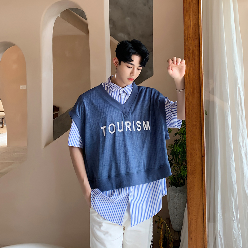 Mannen Zomer 2 Stuks Sets (vest + Shirt) Mannelijke Fashion Loose Casual Korte Mouw Streep Shirt Vrouwen Streetwear Hip Hop Vest Shirt