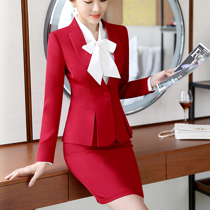 2019 New Fashion Slim Suit Women Professional Skirt Suit Two Piece Office Ladies Work Wear Suits