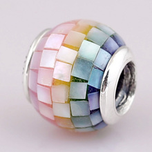 New Rainbow Mosaic With Multicolor Mother Of Pearl Crystal Beads Fit Pandora Bracelet Diy Jewelry 925 Sterling Silver Bead Charm