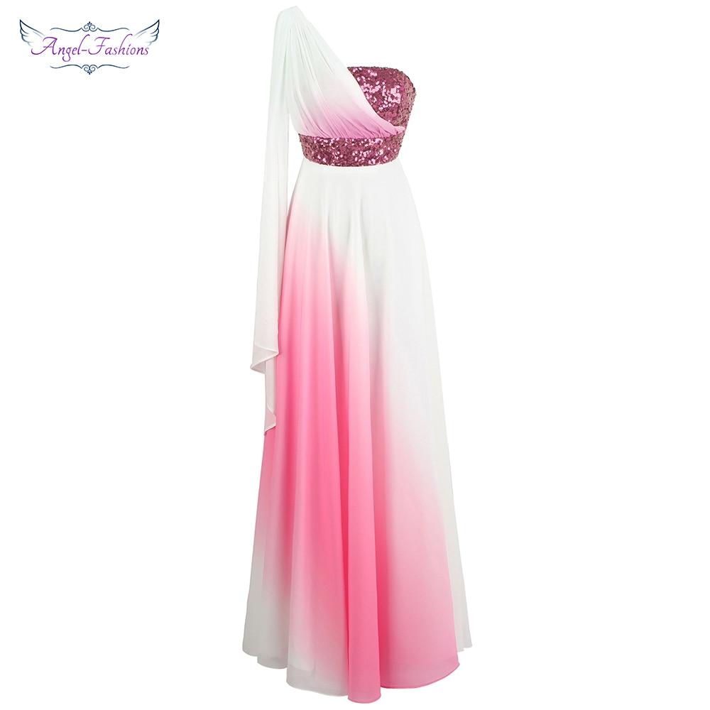 Angel fashions Chiffon Bridesmaid Dresses One Shoulder Ribbons Sequin Pleat Contrast Color A line Party Dresses