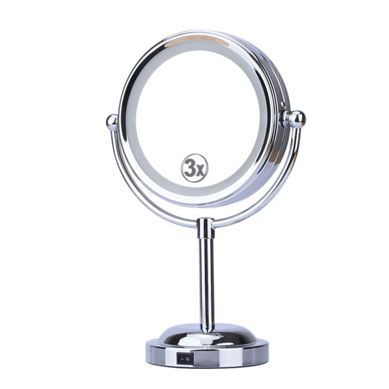 6 Inch 3x Magnification Cosmetic Makeup Mirror Round Shape 2Sided 360 degree Rotating Magnifier Mirror LED Light Makeup Mirror large 8 inch fashion high definition desktop makeup mirror 2 face metal bathroom mirror 3x magnifying round pin 360 rotating