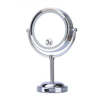 6 Inch 3x Magnification Cosmetic Makeup Mirror Round Shape 2Sided 360 degree Rotating Magnifier Mirror LED Light Makeup Mirror