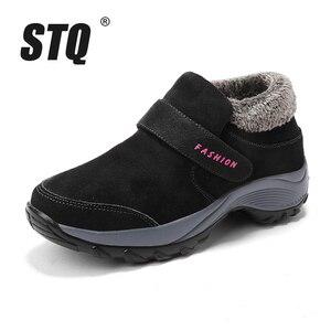 Image 2 - STQ 2020 חורף נשים שלג מגפי נשים נעלי פלטפורמה חמה שחור קרסול מגפי נקבה גבוהה טריז עמיד למים הליכה 1851