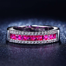 YaYI moda kobiety biżuteria pierścionek czerwony cyrkon CZ kolor srebrny pierścionki zaręczynowe obrączki ślubne pierścienie Party pierścionki prezent tanie tanio 5 5mm yayi jewelry Platinum plated Geometryczne Zespoły weselne Romantyczny Prong ustawianie Cyrkonia Zaręczyny HR294