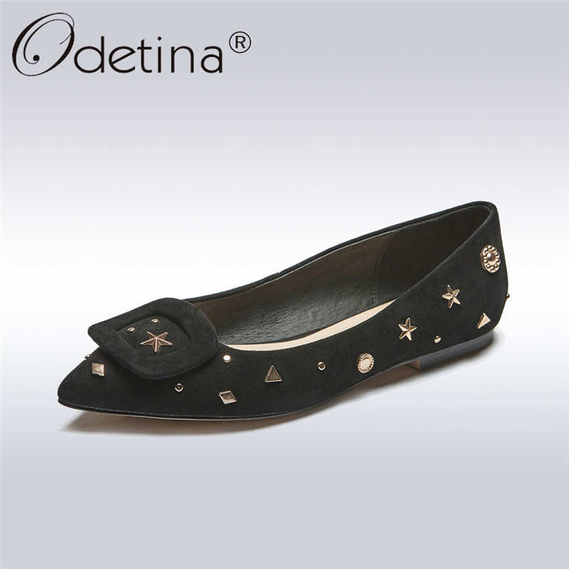 Odetina 2018 New Fashion Women Genuine Leather Ballet Flats Rivet Slip On Casual Shoes Ladies Pointed Toe Shoes Big Size 32-43 meotina women flat shoes ankle strap flats pointed toe ballet shoes two piece ladies flats beading causal shoes beige size 34 43