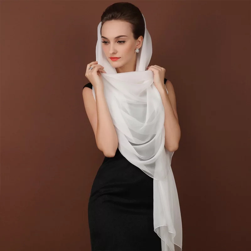 100% Real Silk Muslim Hijab Long Scarf Cappa Beach Sunscreen Plus Size 195CM Wrap Soft Scarves Tippet Women White Cape Shawl