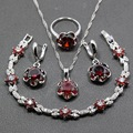 AAA+ Quality 4PCS 925 Sterling Silver Women Wedding Jewelry Sets Red Garnet  Ring Size 6/7/8/9/10 Bracelet Length 17CM  JS22