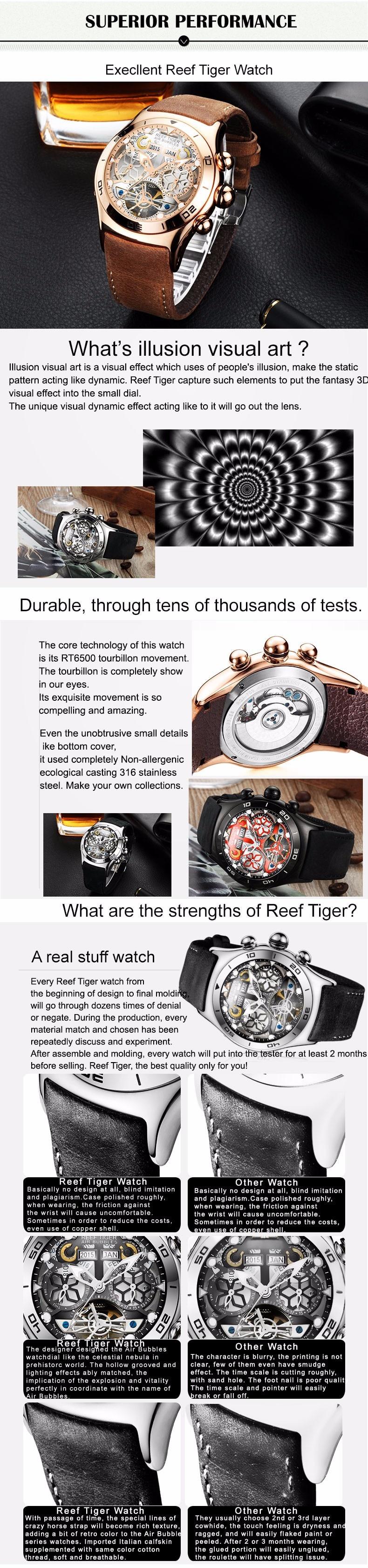 Reef tiger rt masculino esporte relógios esqueleto