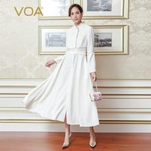 VOA 2017 Fall Fashion Pure White Plus Size Elegant Slim Dress Brief Solid High Quality Heavy Silk Women Maxi Dresses ALX11701