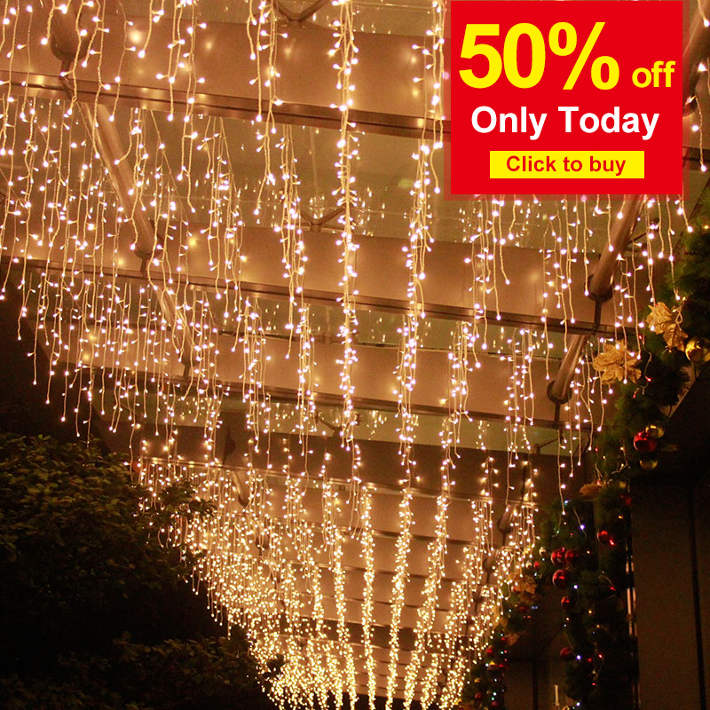 Guirlande Christmas Light Outdoor Garden Stage Wedding Ramadan Decoration Shopping Mall AC220V Led Curtain Icicle String Lights