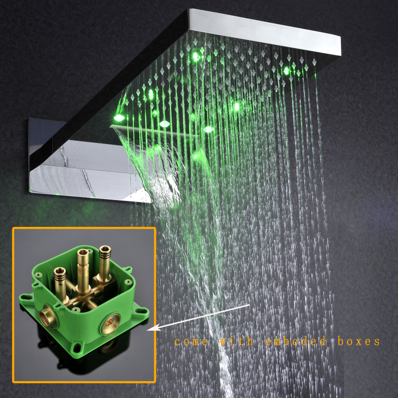 led shower head rainfall waterfall dual function shower heads with ...