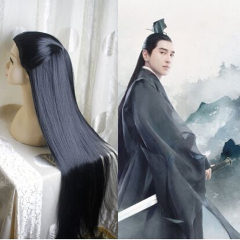 80cm Ancient Chinese Style Hair Ancient Chinese Men Long Black Warrior Cosplay Hair Long Straight Hair For Men Swordsman Cosplay