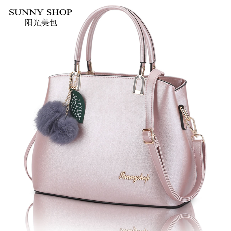 SUNNY SHOP Christmas Gifts Fashion Women Bag American Design Woman Shoulder Bags With Small Pompon Accessories sunny shop candy color cute shoulder bags with bear charm women small messenger bags zipper christmas gifts for teenage girls