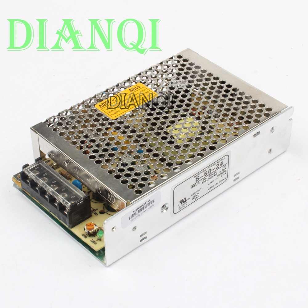 DIANQI power suply 50w 24V 2.1A power supply unit ac to dc power supply ac dc converter adjustable output S-50-24 dianqi high quality s 320 15 power suply 15v 320w 20a ac to dc power supply ac dc converter