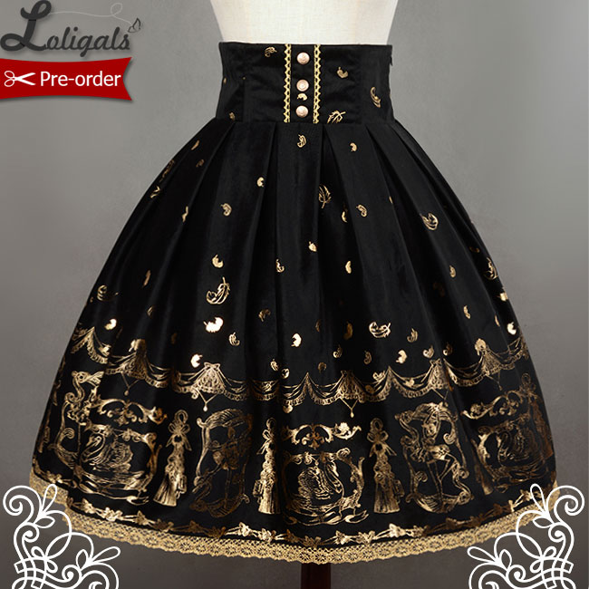 Soufflesong Swan Lake Black High Waist Printed Lolita Skirt for Lady Free Shipping